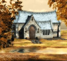 autumn chapel background by indigodeep