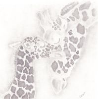 Giraffe Mother and Baby 2 by caitiedidd