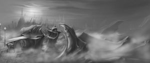 Matte Painting - grey scale by Zyryphocastria