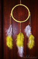 White and yellow dreamcatcher by YourLittleBunny
