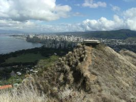 Diamond Head and Waikiki by rioka