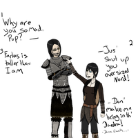 The Height Difference -Raven and Vilkas by Gothalla123
