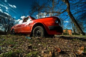 Old red wasted SKODA by Yupa