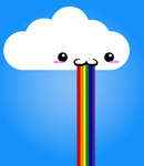 A cloud puking a rainbow by ShadowFoxGraphics