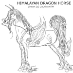 Himalayan Dragon Horse Male Lineart by LiaLithiumTM