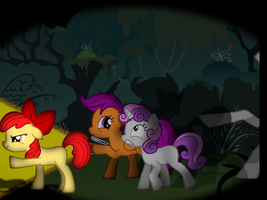 the crusaders in the everfree... (CMC en everfree) by djjafeth