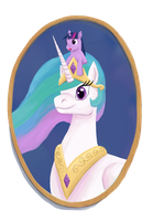 Celestia and Filly Twilight Portrait by StormCrow-42