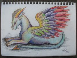 Iridescent Dragon lying down by delilittle