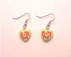 Handmade green candy heart earrings: bite me by MiniSweetx