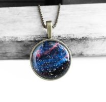 Antique Bronze Midnight Blue Galaxy Necklace by crystaland