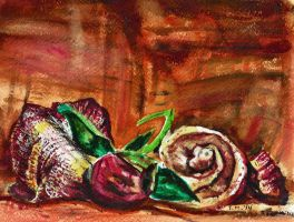 Still Life Watercolor with Flowers and a Seashell by Artlune