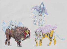 Raikou, Entei and Suicune by yoult