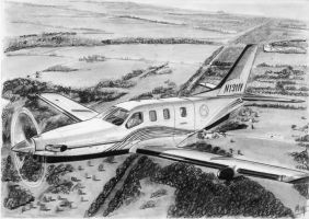 Socata TBM-850 drawing by alainmi