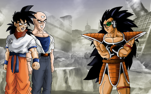 Raditz (old) vs Yamcha and Tien (new) by kibasennin