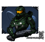 COMMISSION [BUST]: Master Chief by SketchbookGeek