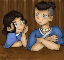 Siblings - Katara and Sokka by ChiuuChiuu