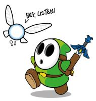 Shy Guy Link and his navi by Titnendo