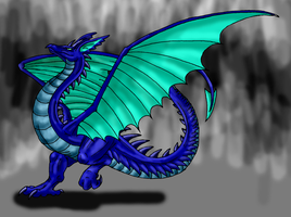 Dec. Request-Great Blue Wyvern by Scatha-the-Worm