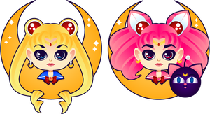 Sailor Moon and  Mini by MidniteHearts