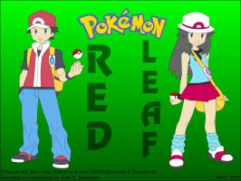 Pokemon Trainers Red and Leaf by TheRealSneakers