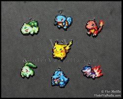 Bead charms - Starter Pokemon Generation 1 - 2 by VioletValhalla