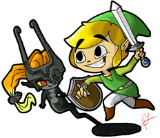 Link and Midna by LunarDawn