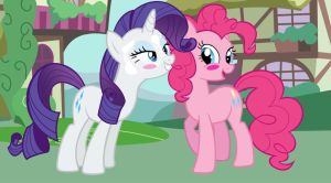 Rarity and Pinkie Blush by Hiddenwithinthunder