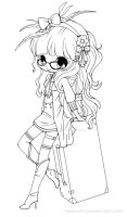 Suitcase Girl Lineart by YamPuff