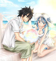 Gray and Juvia summertime by Makkona