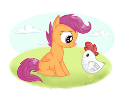 Scootaloo and her Chicken by Shadowstar-12