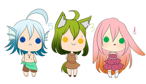 Hatched Kemonomimi Adoptables 1. by HoshiChan-Sketch
