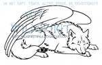 Sleeping Winged Wolf Lineart by WildSpiritWolf