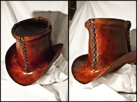 Steampunk Leather Top Hat by Adhras