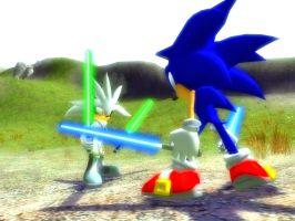 Star Hedgehogs - Sonic VS Silver 2 by NeoMetalSonic360