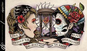 Day of the Dead Gypsy Crest Piece Tattoo by Sam-Phillips-NZ