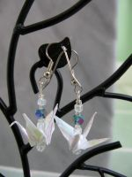 White Iridescent Crane Earrings by limejutsu