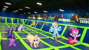 Mane 6 In A Trampoline Arena by Macgrubor