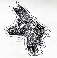 Zentangle-y Fox by fallowsingerwolf