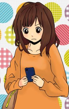 Confused girl holding a cell phone colored by Dezeya