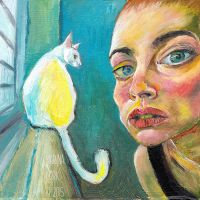 Selfportrait with Cat by Stardust-Splendor