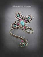 silver bracelet with turquoise and rubies by nastya-iv83