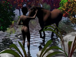 A horse and a Naked Woman by j4ever
