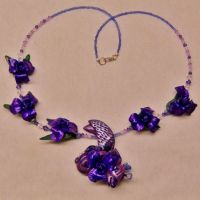 OOAK Purple Dragon and Iris necklace by CreativeCritters