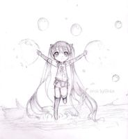 pencil ver. water miku by Erokty