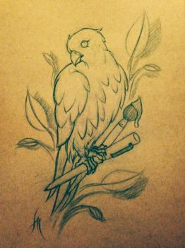 Birdy Tattoo Sketch by LarcDEAR