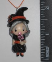 Polymer Clay Witch Necklace by Lisas-Art-Endeavors