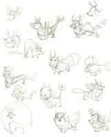 Wolpertinger doodles 02 by Gilmec
