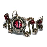 Victorian Steampunk Red Dragon Eye Bracelet by CatherinetteRings