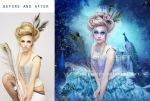 Peacock Garden Before and After by EnchantedWhispersArt