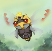 Ninjask and Joltik by Joltik92